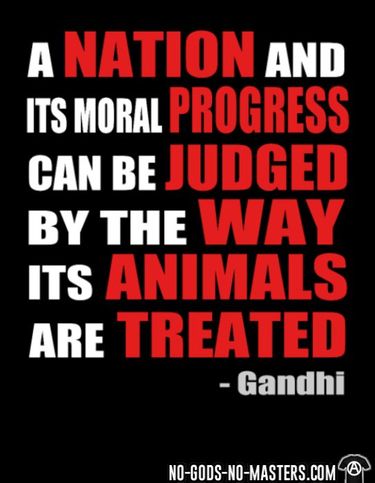 A nation and its moral progress can be judged by the way its animals are treated (Gandhi ) - Animal Liberation T-shirt