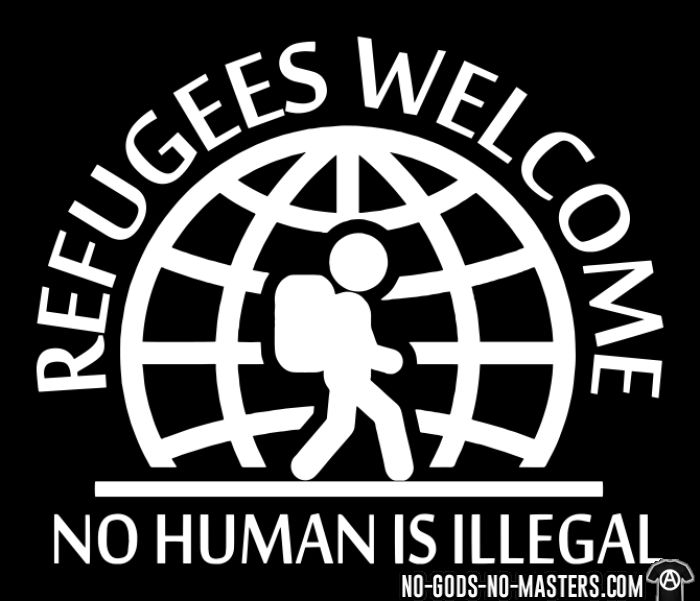 Refugees welcome / no human is illegal - Anti-fascist T-shirt