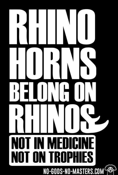 Rhino horns belong on rhinos. Not in medicine. Not on trophies - Animal Liberation T-shirt