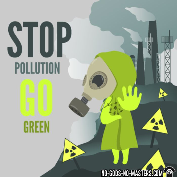 Stop pollution go green - Eco-friendly Hooded sweatshirt