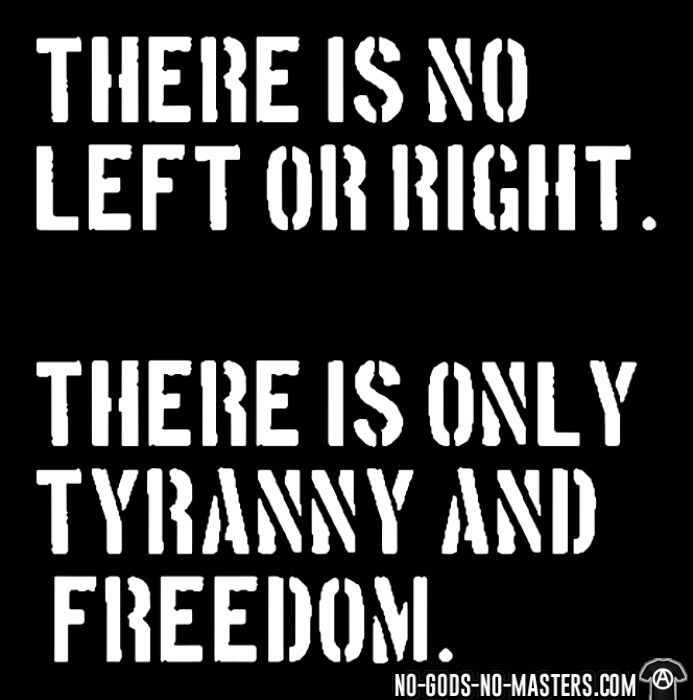 There is no left or right. There is only tyranny and freedom. - Activist T-shirt