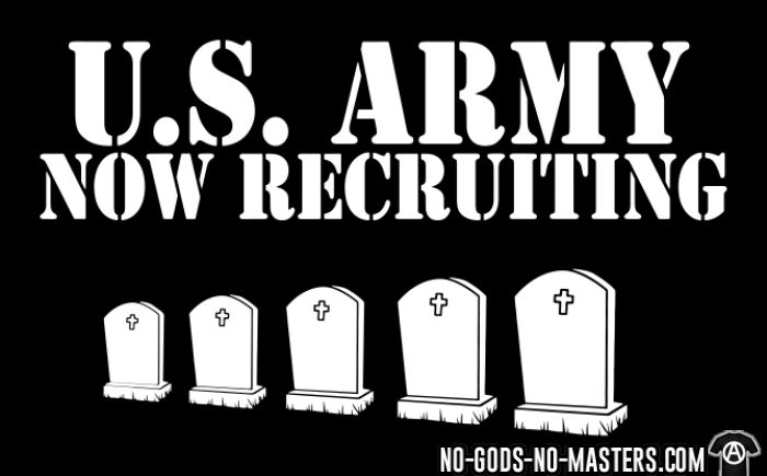 U.S. Army now recruiting - Anti-Guerra Camiseta