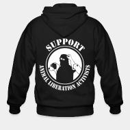 Zip hooded sweatshirt Support animal liberation activists