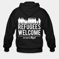 Zip hoodie Refugees welcome - no one is illegal