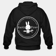 Zip hooded sweatshirt Earth first! no compromise in defence of mother earth