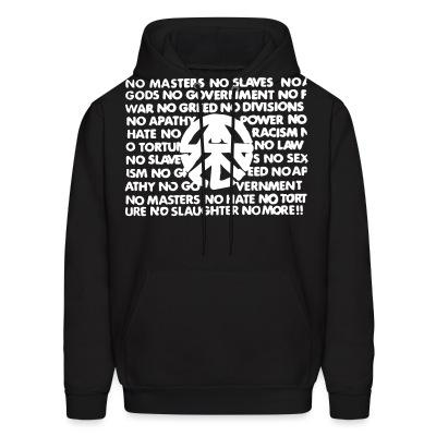 Hoodie No masters no slaves no gods no government...