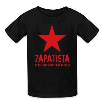 Kid tshirt Zapatista. Peace with dignity and respect