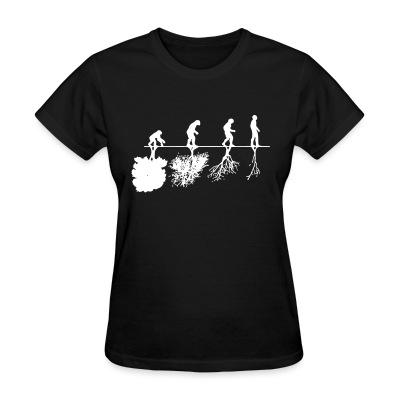 Women T-shirt Human evolution and the destruction of the environment