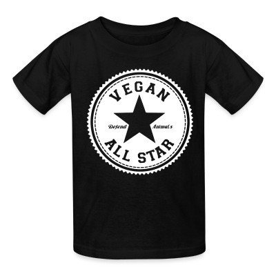 Kid tshirt Vegan all star. Defend animals