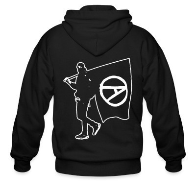 Zip hoodie Anarchist with Flag