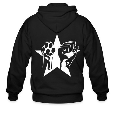 Zip hoodie Animal Liberation Paw & Raised Fist