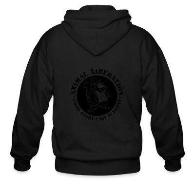 Zip hoodie Animal Liberation - Until every cage is empty