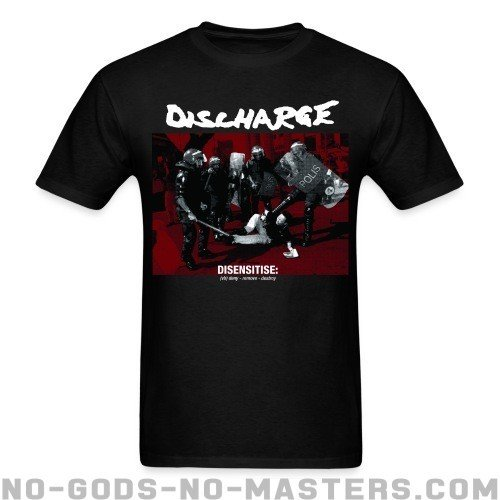 Discharge - disensitise: (vb) deny - remove - destroy - Band Merch T-shirt